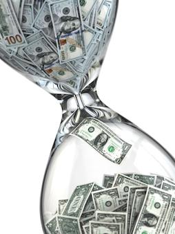 Zeit ist geld. inflation. sanduhr und dollar. 3d
