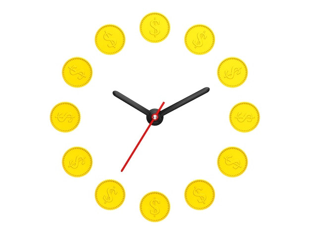 Zeit ist geldkonzept. goldene münze als uhr auf weißem hintergrund