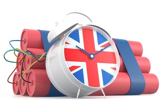Zeitbombe mit britischer flagge. 3d-rendering