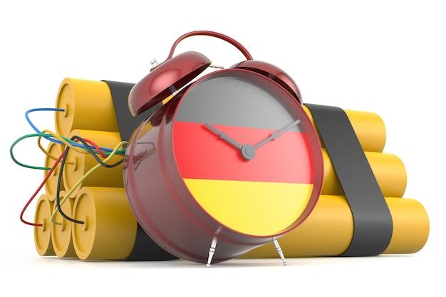 Zeitbombe mit deutscher flagge. 3d-rendering