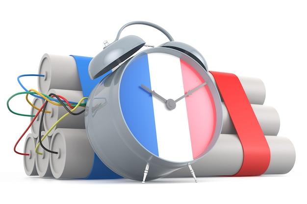 Zeitbombe mit französischer flagge. 3d-rendering