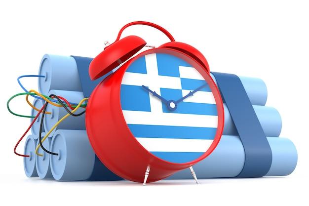 Zeitbombe mit griechischer flagge. 3d-rendering