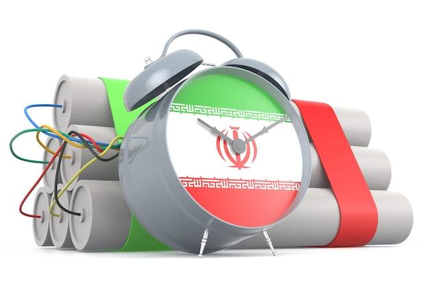 Zeitbombe mit iranischer flagge. 3d-rendering