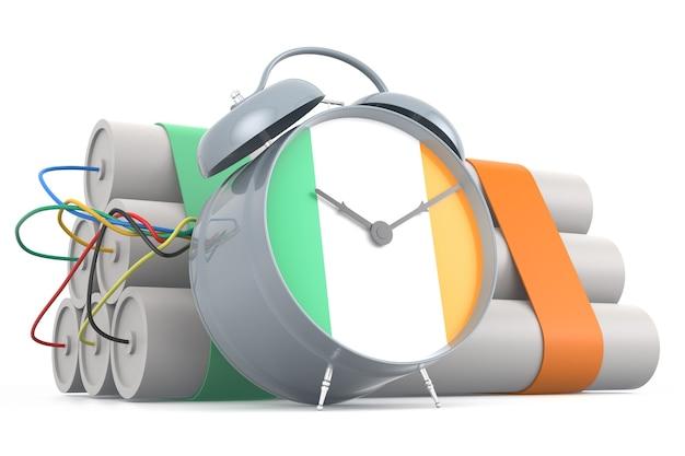 Zeitbombe mit irischer flagge. 3d-rendering