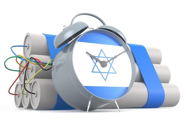 Zeitbombe mit israelischer flagge. 3d-rendering