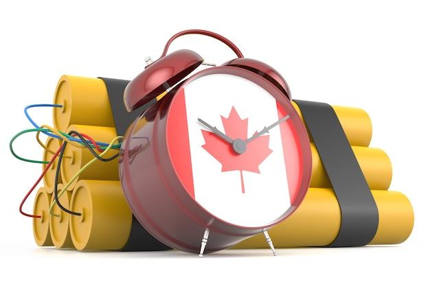 Zeitbombe mit kanadischer flagge. 3d-rendering
