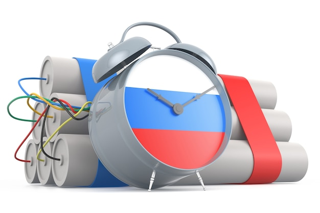Zeitbombe mit russischer flagge. 3d-rendering