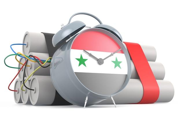 Zeitbombe mit syrischer flagge. 3d-rendering