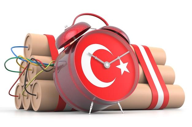 Zeitbombe mit türkischer flagge. 3d-rendering