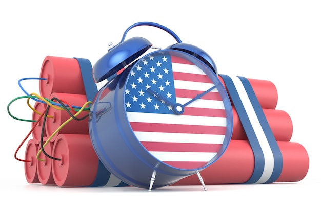 Zeitbombe mit usa-flagge. 3d-rendering