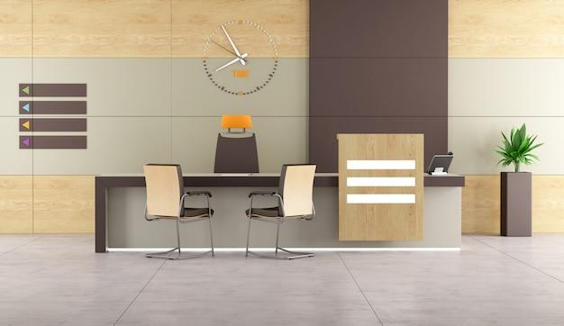 Zeitgemäßer empfang mit schreibtisch und bürostühlen