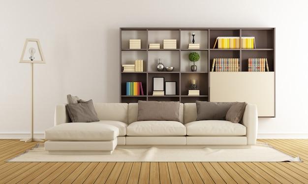 Zeitgemäßes wohnzimmer mit sofa und bücherregal
