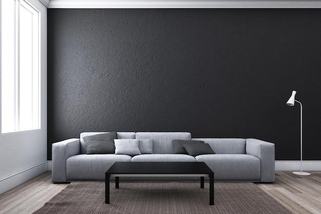 Zeitgemäßes wohnzimmer mit sofa und fenster.