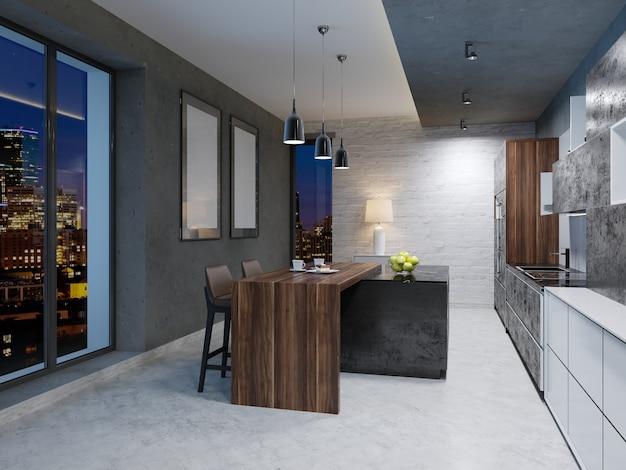Zeitgenössische küchentheke mit weißem und schwarzem design. 3d-rendering