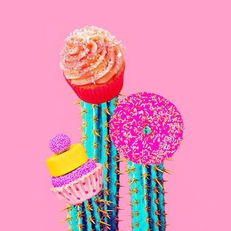 Zeitgenössische kunstcollage. minimales konzept. süßigkeiten süße kaktuskunst