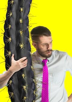 Zeitgenössische moderne kunstcollage über geschäftsleute im büro. erfolg, geschäft, leistung, fortschritt, karrierekonzept. heikle arbeit. nervenkitzel