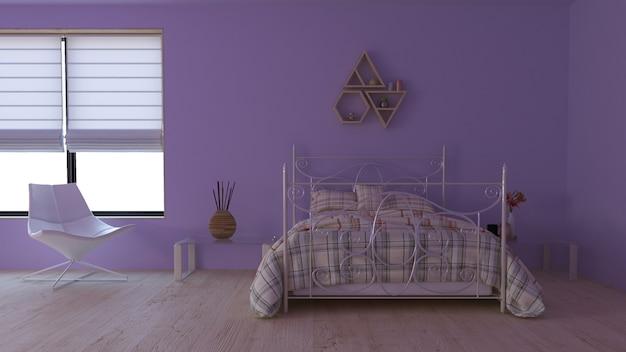 Zeitgenössischer innenraum des schlafzimmer-3d