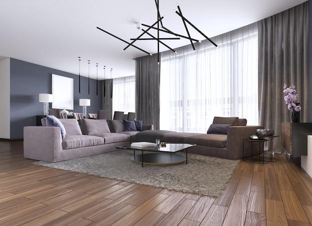Zeitgenössisches großes wohnzimmer in einer neuen wohnung mit großem sofa und essbereich. 3d-rendering.