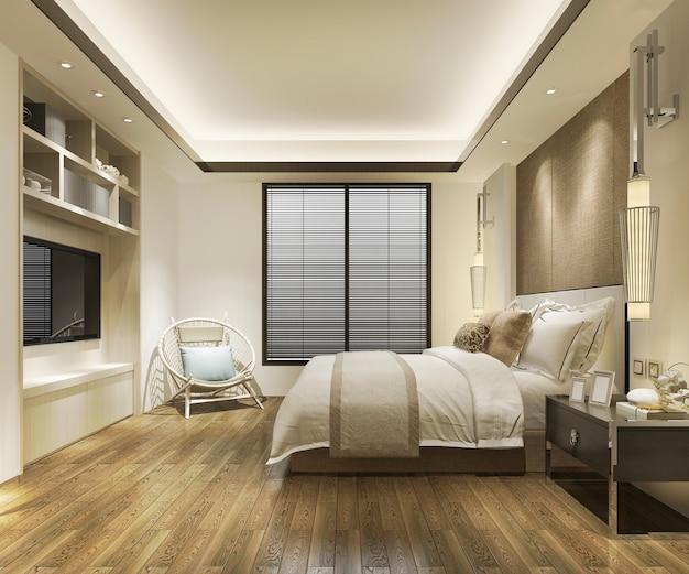 Zeitgenössisches holzschlafzimmer mit eingebautem bücherregal