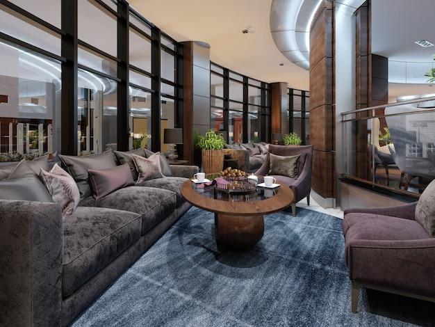 Zeitgenössisches hotel-innendesign, hotellobby, ruhebereich mit komfortablen modernen möbeln. 3d-rendering