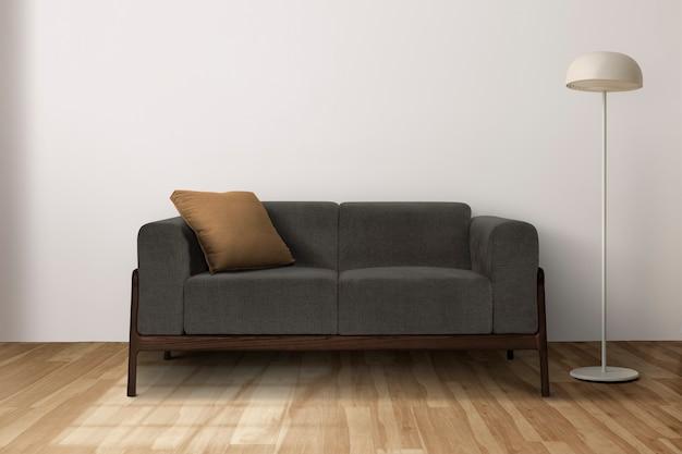 Zeitgenössisches wohnzimmer-innendesign mit moderner couch aus der mitte des jahrhunderts