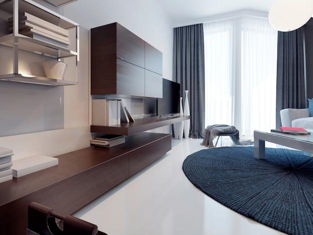 Zeitgenössisches wohnzimmerdesign mit braunen schrankmöbeln.