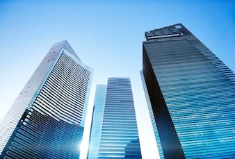 Zeitgenössisches Architektur-Bürogebäude-Stadtbild-persönliches Perspektiven-Konzept
