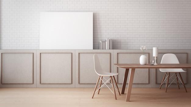 Zeitloses esszimmer wandplakat modell / 3d-rendering interieur