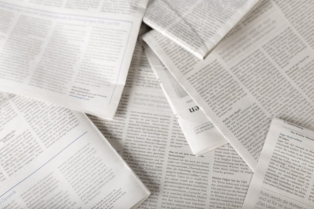 Zeitung, ansicht von oben
