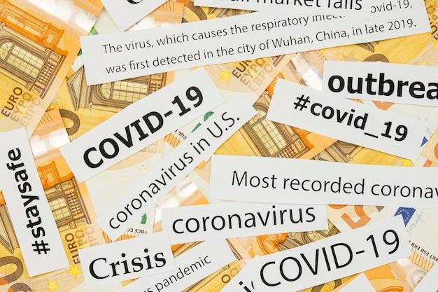 Zeitung covid-19-titel auf geld