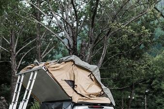 Zelt über der Wohnmobilvanhaube im Wald