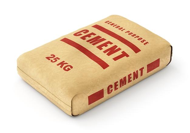 Zementbeutel. papiersack lokalisiert auf weißem hintergrund.