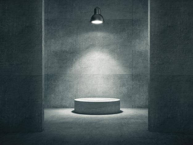 Zementsockel beleuchtet von einer lampe für produktausstellung in einem betonraum