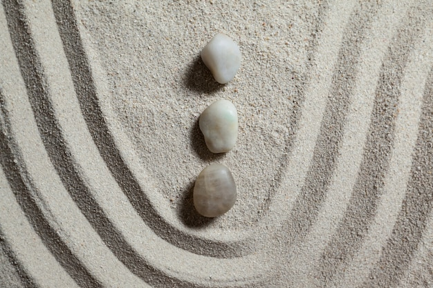 Zen-garten mit geharkt sand und steinen