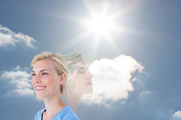 Zen inhalt sonnig blauer himmel bewölkt
