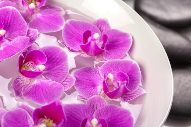 Zenstein und orchidee, badekurortkonzept