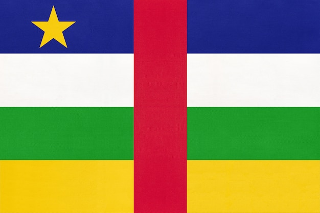 Zentralafrikanische republik national stoff flagge