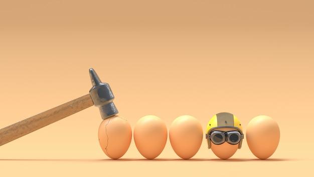 Zerbrochene eier, weil sie keine helme tragen.
