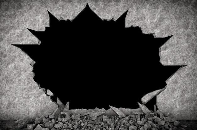 Zerbrochene steinmauer auf schwarzem hintergrund