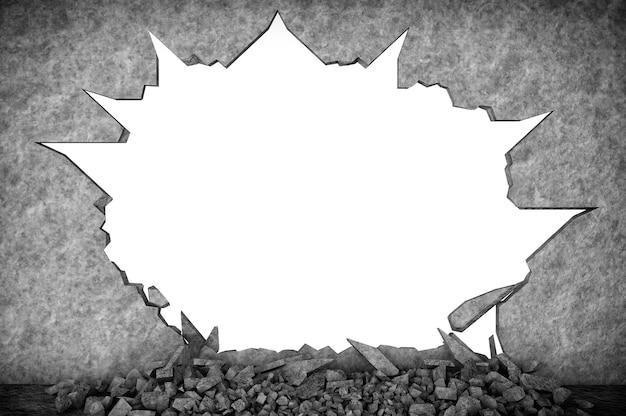 Zerbrochene steinmauer auf weißem hintergrund