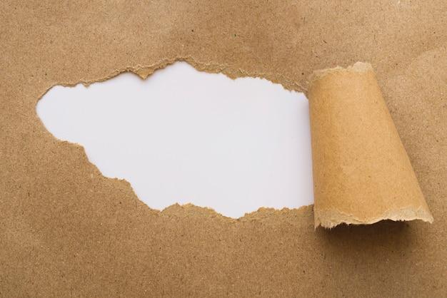 Zerbrochenes kraftpapier auf weißem brett