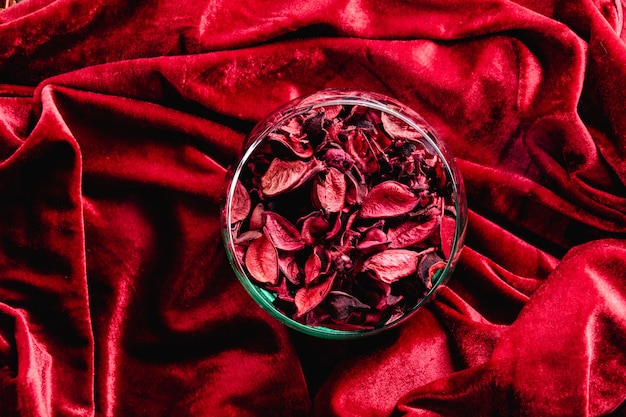 Zergliederte rosenblätter auf rotem samt