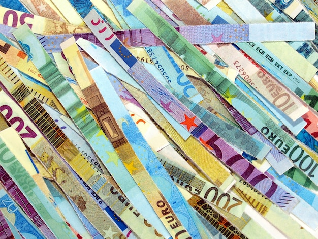 Zerkleinerte euro-banknoten