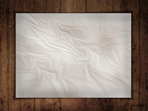 Zerknitterte alte papier auf einem grunge holz backgroun