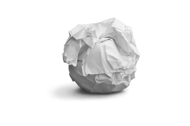 Zerknittertes blatt papier isoliert auf weiss