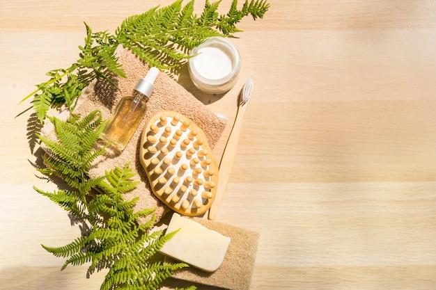 Zero waste badzubehör spa-körperpflegekonzept umweltfreundlicher lebensstil