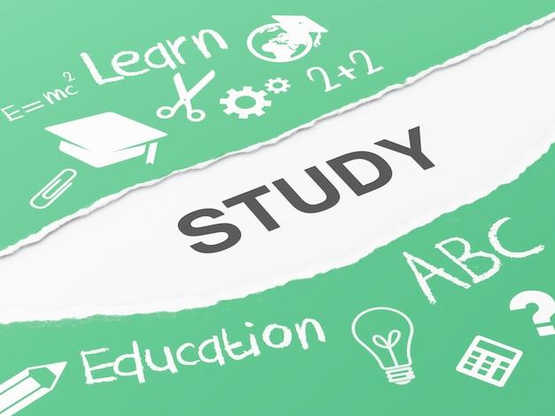 Zerrissenes papier 3d mit studie