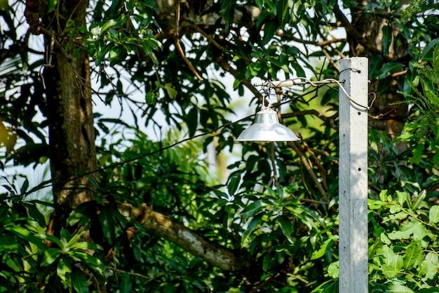 Zerschmettern sie antike stahllampe im park an der landschaft in thailand - hintergrund