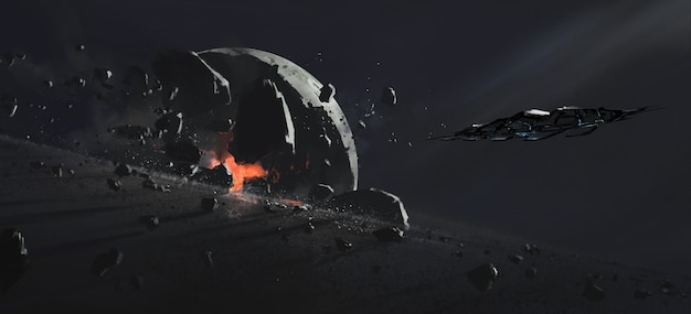 Zerstörter planet, science-fiction-illustration.