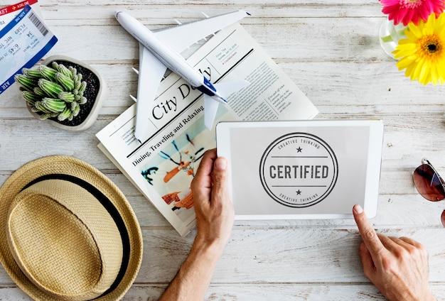 Zertifizierte garantie garantie verifizieren sie das stempelwort-konzept